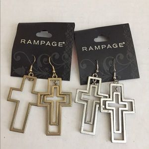2 pair of cross rampage earrings punk